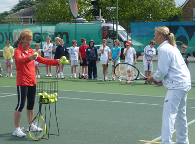 Elena supporting one of Judy's many events ensuring more young players join the wonderful sport of tennis